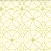 Moda Comma by Zen Chic - 2408 - Green Interlocking Circles on White Background - 100% Cotton Fabric